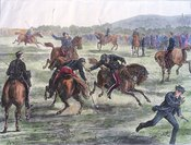 Officers Playing Polo (Hockey on Horseback) on Woolwich Common
